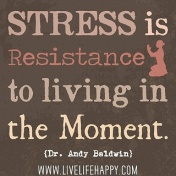 Quote: Don't resist living in the moment